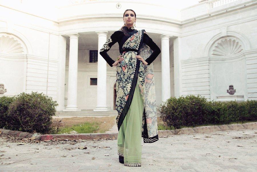 Pastel Green Net & Print Sari.