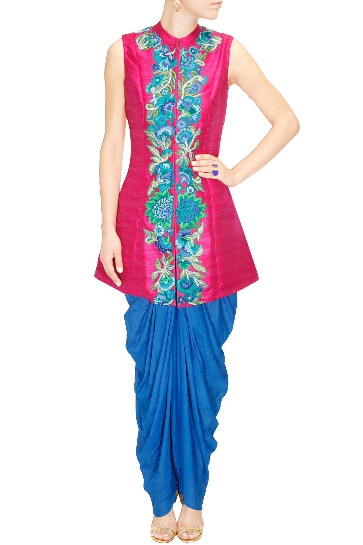 Magenta jacket with blue dhoti pants