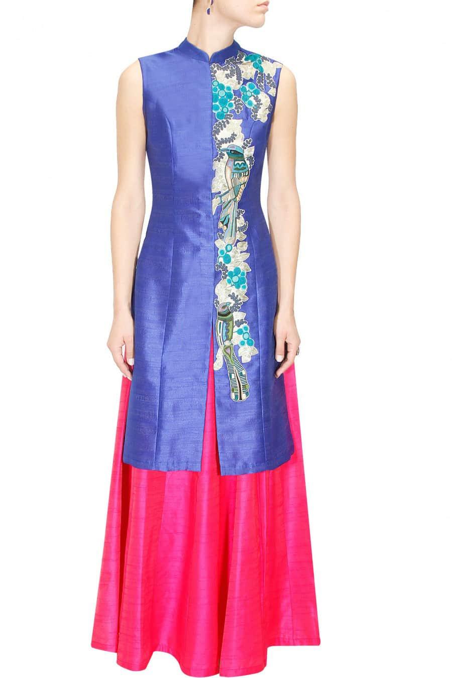 Blue achkan with lehanga skirt