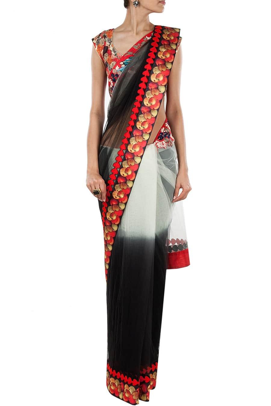 Ivory to Black Shaded Sari