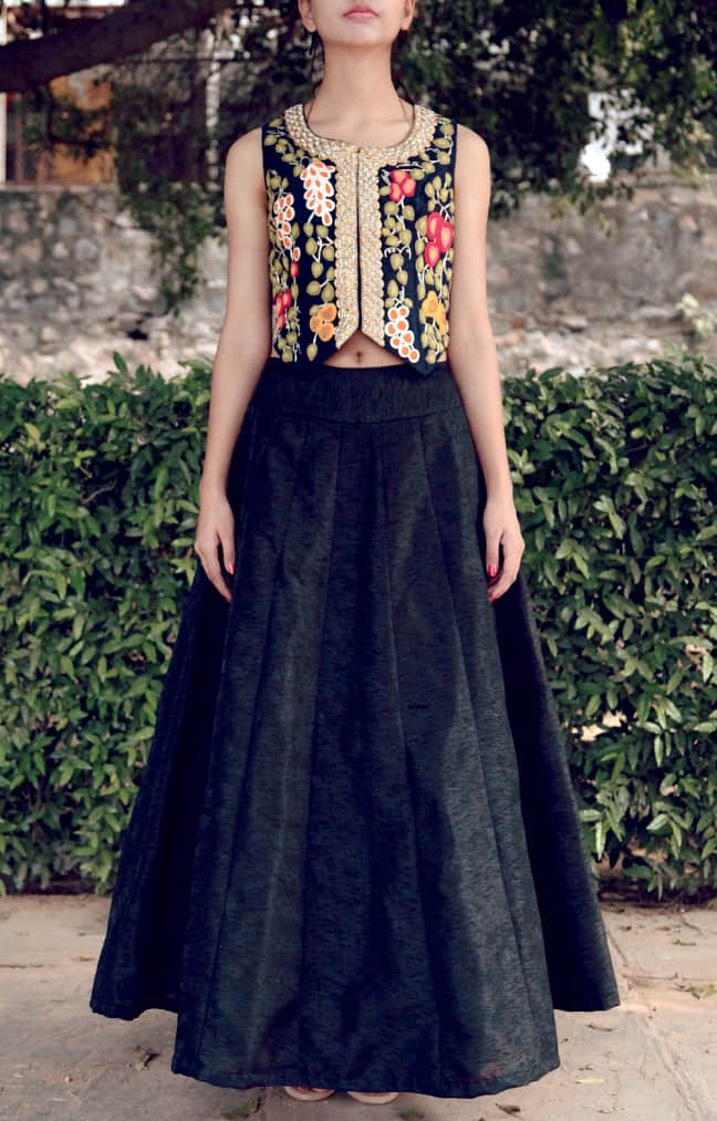 Black Embroidered Waistcoat and Black Plain Skirt