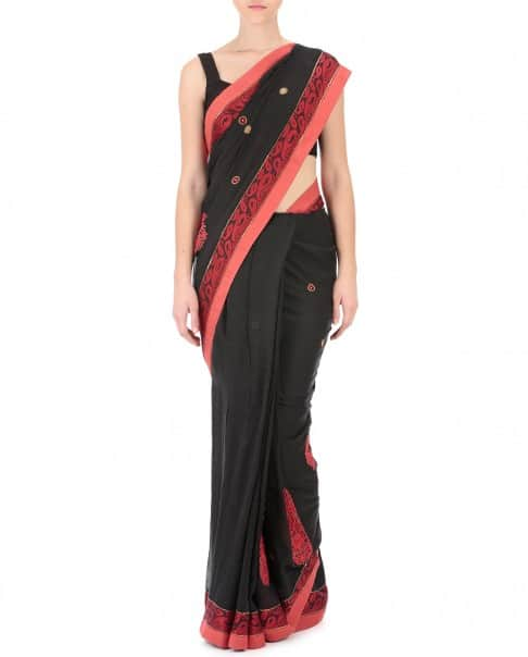 Black and Red Handwoven Sari
