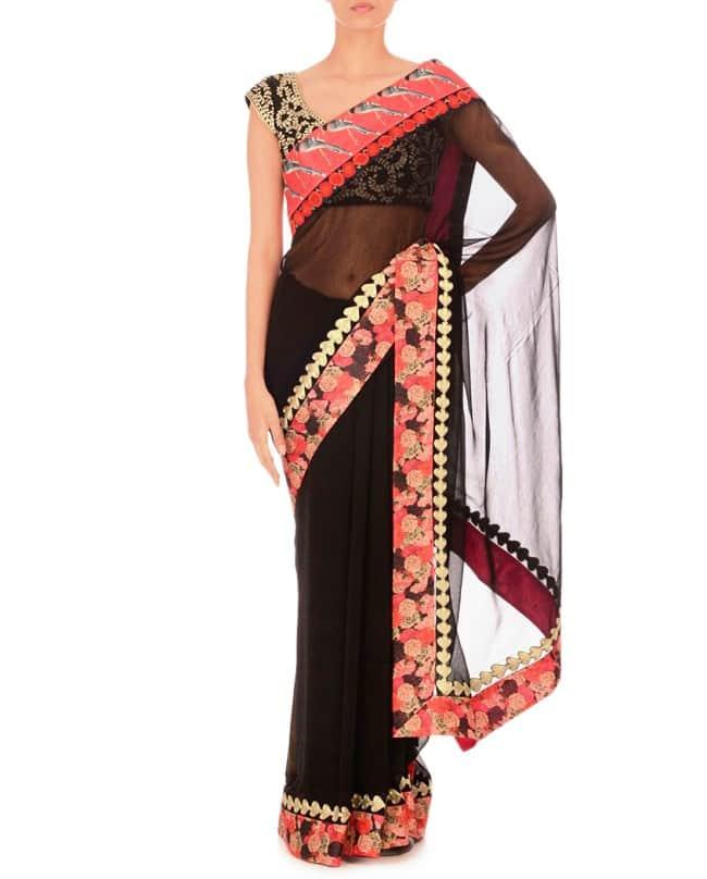 Black Sari with Embroidered Border