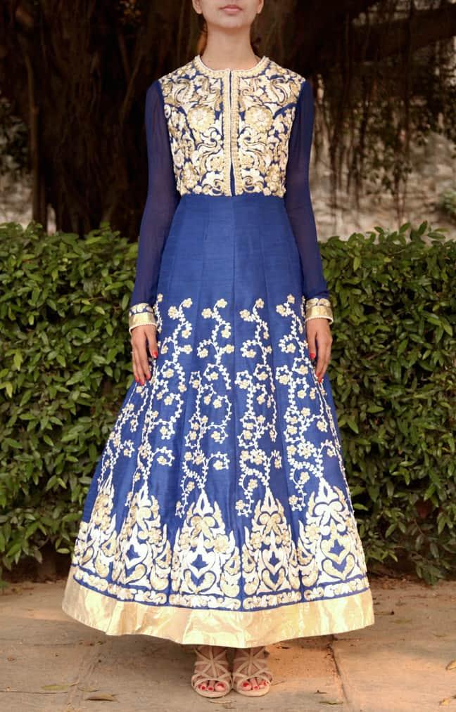 Blue Embroidered Anarkali and Churidar Set