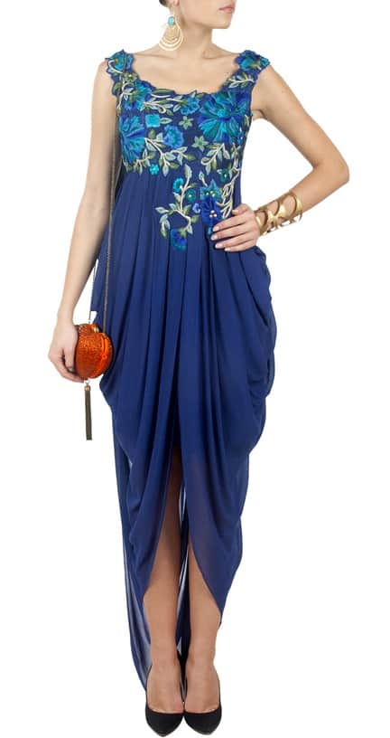 Ink Blue Embroidered Draped Gown.