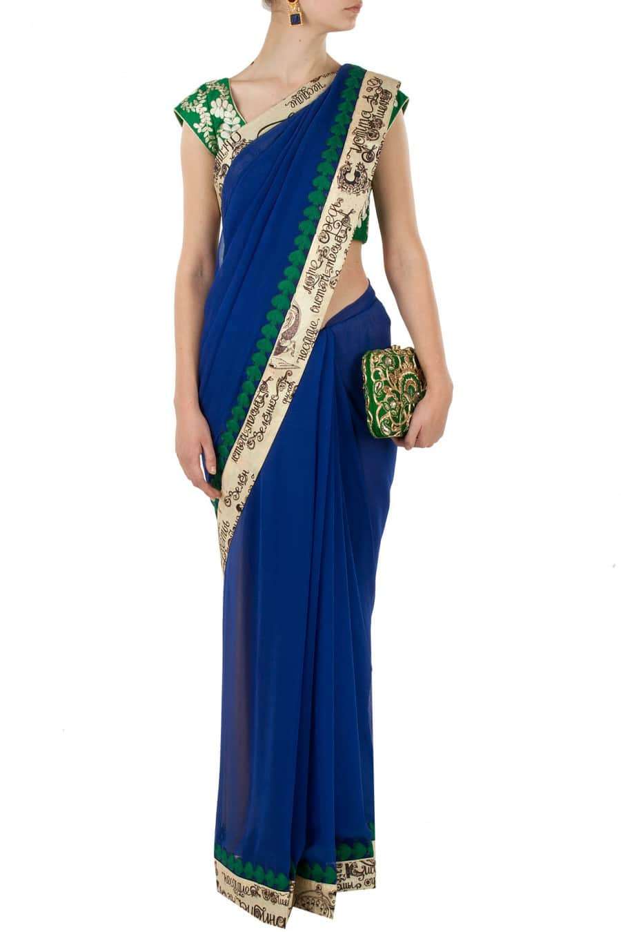 Blue Sari with Leaf Embroidered Blouse