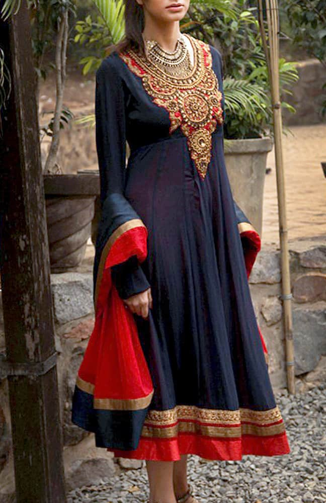 Short Yoke Embroidered Anarkali Set