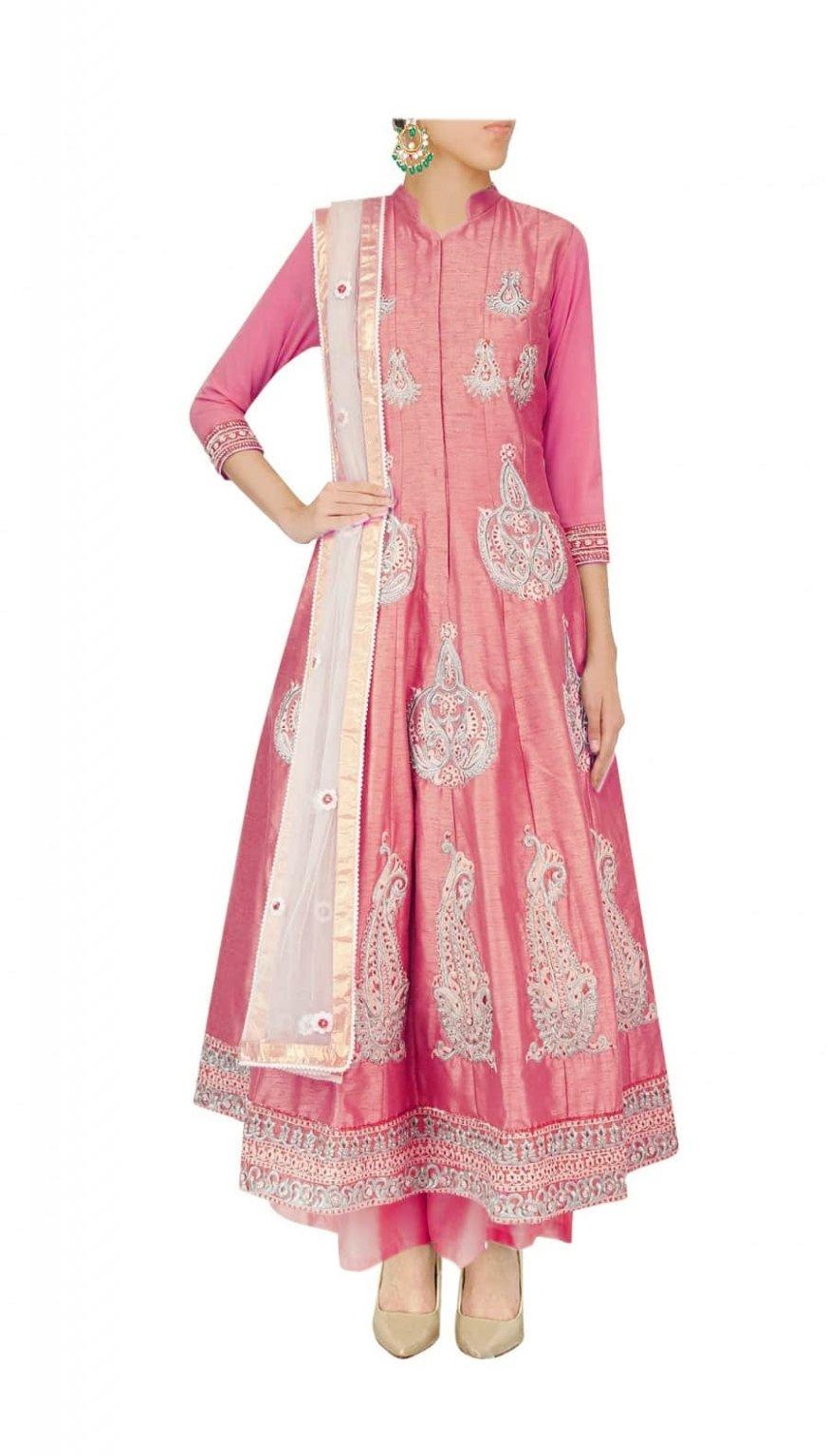 Rani Pink Embroidered Anarkali set