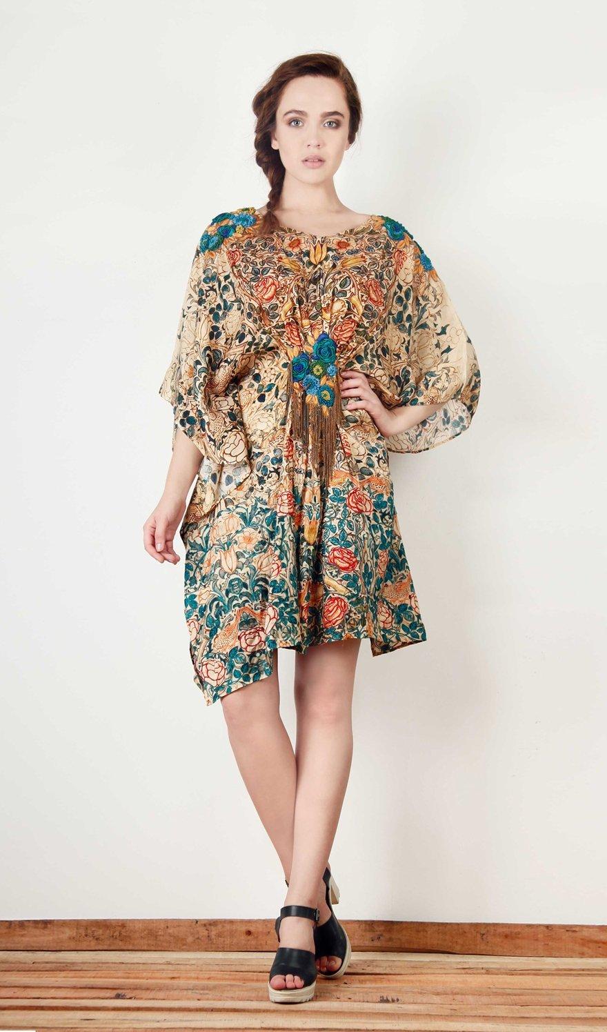 Beige Poncho Dress