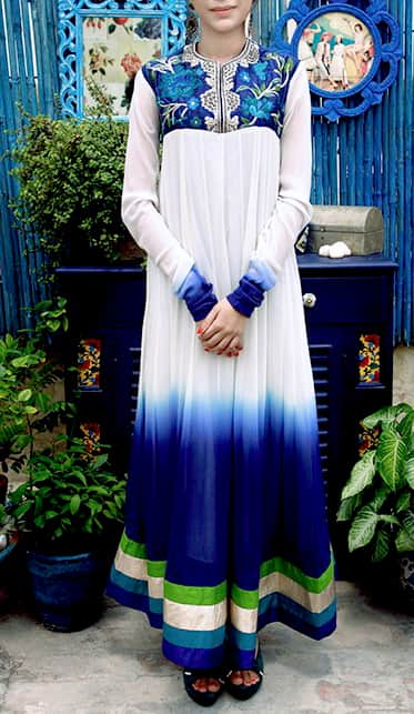 Blue Shaded Anarkali with embroidery.