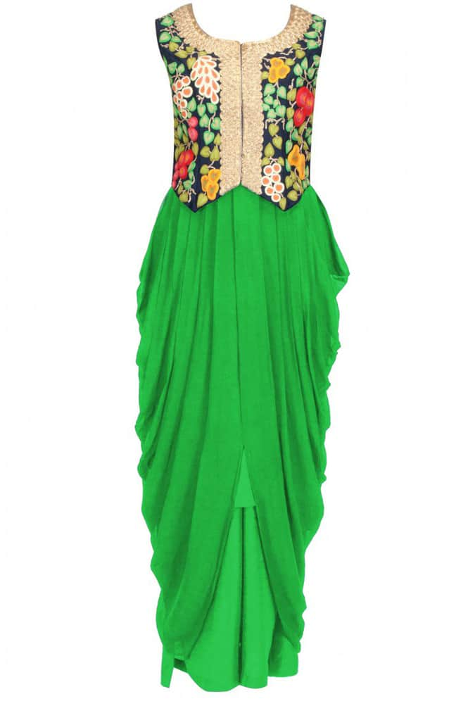 Embroidered waistcoat with green drape dress