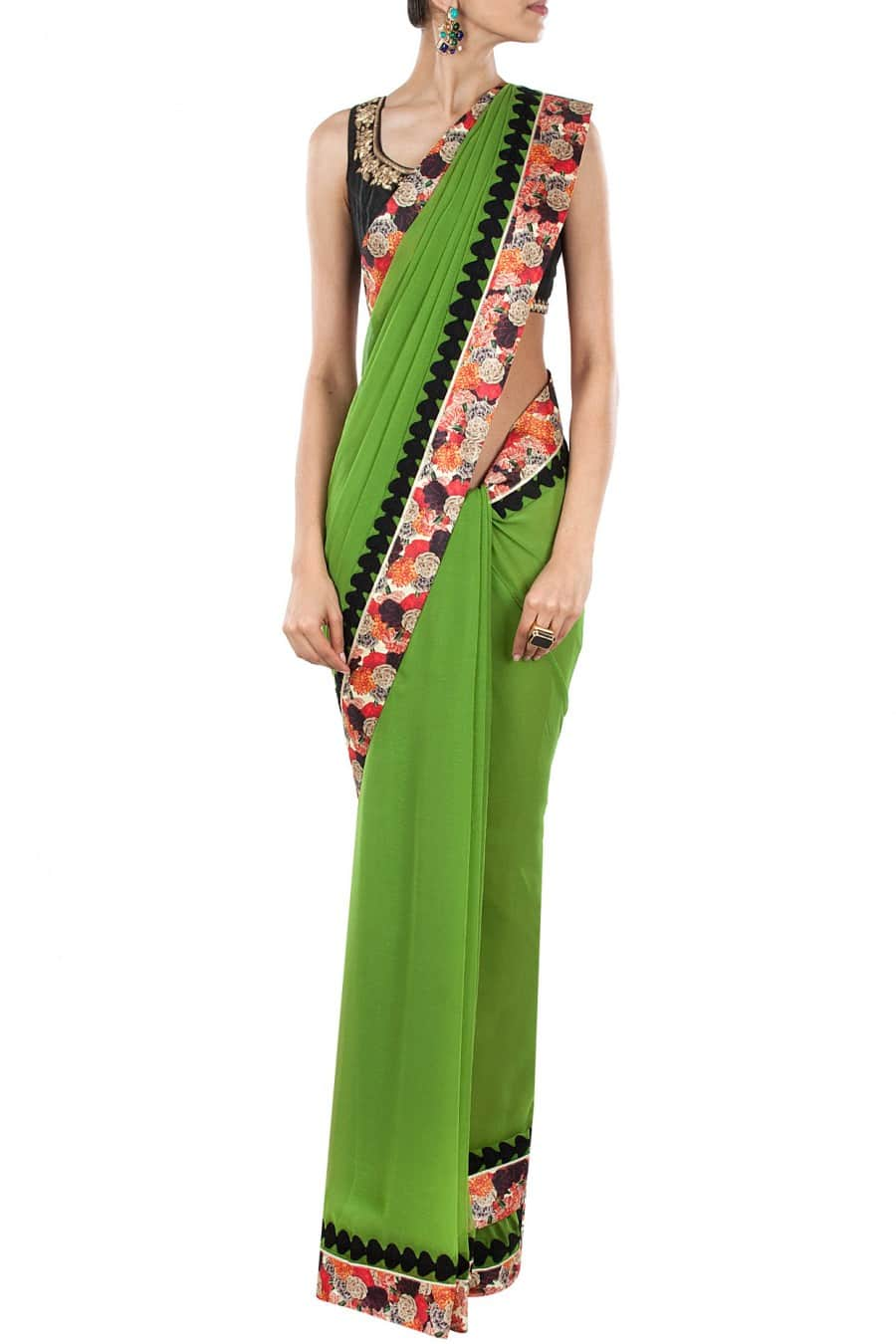 geen Sari with Floral Border