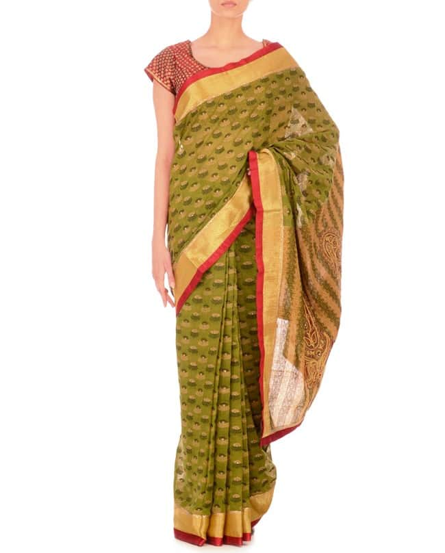 Green Jacquard Sari in Cotton silk