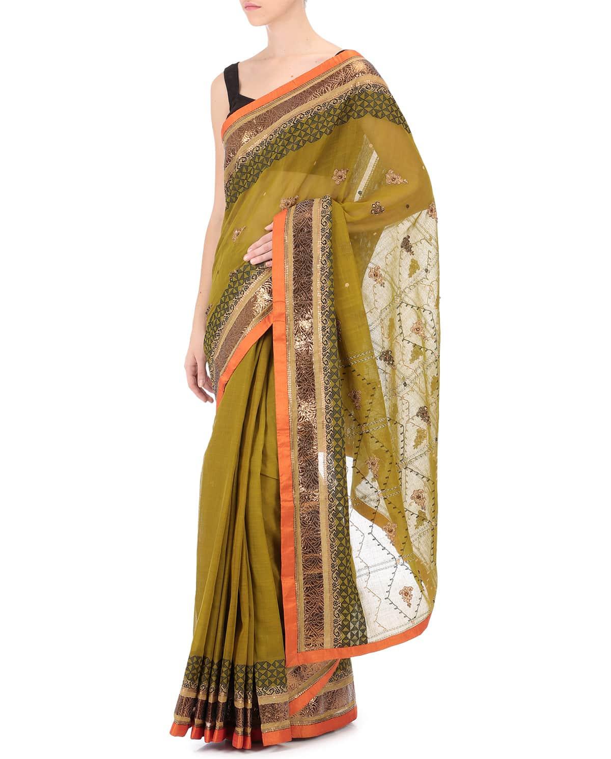 Handwoven Cotton Silk Sari wit Blouse