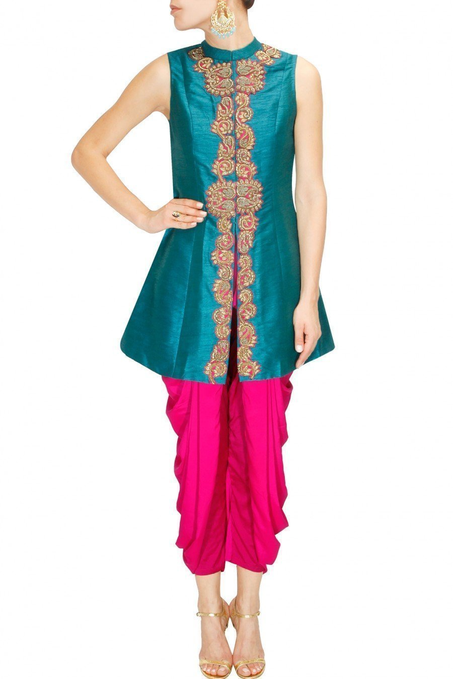 Teal Blue Zardozi Jacket and Fuschia Pink Dhoti Pants