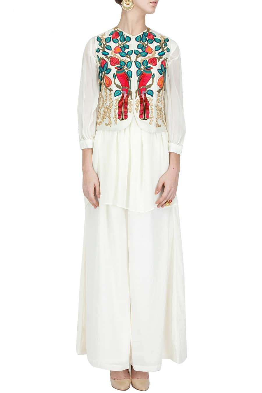 Ivory jacket with tunic and palazzo pants