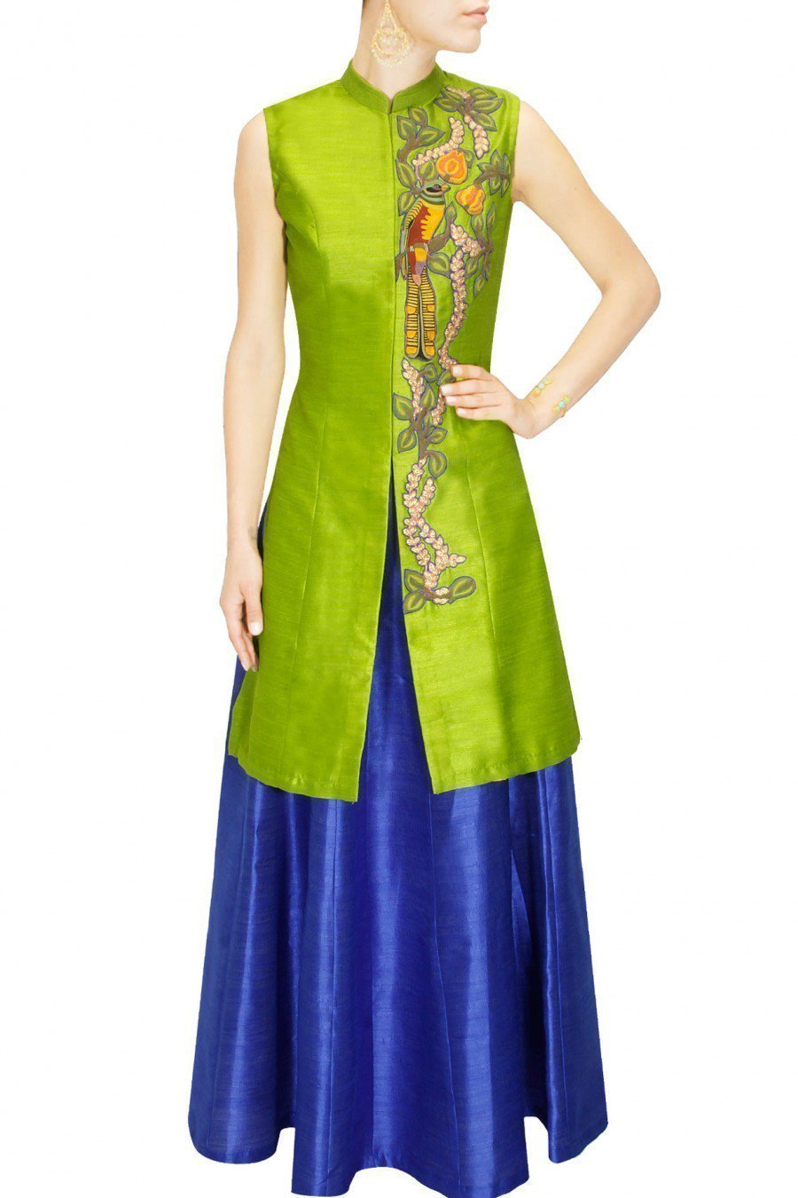 Lime Green Jacket with Cobalt Blue Plain Skirt