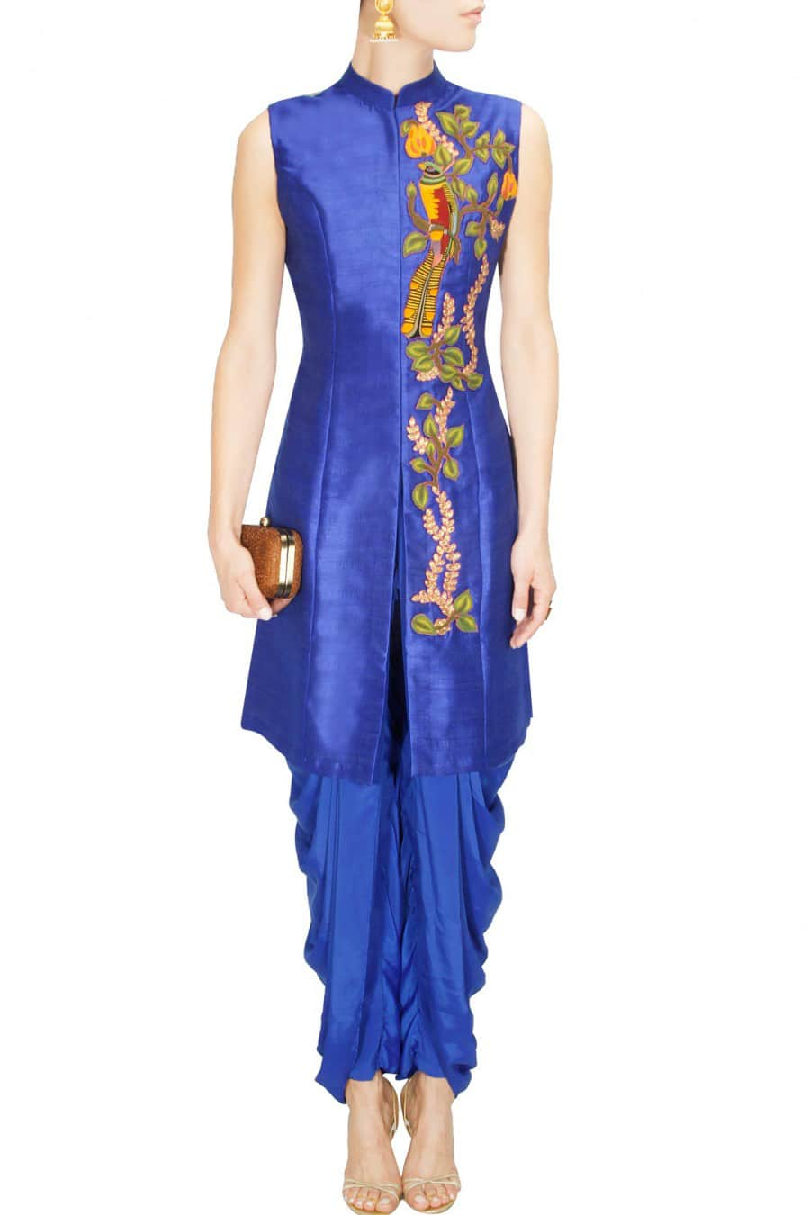 blue achkan with dhoti pants