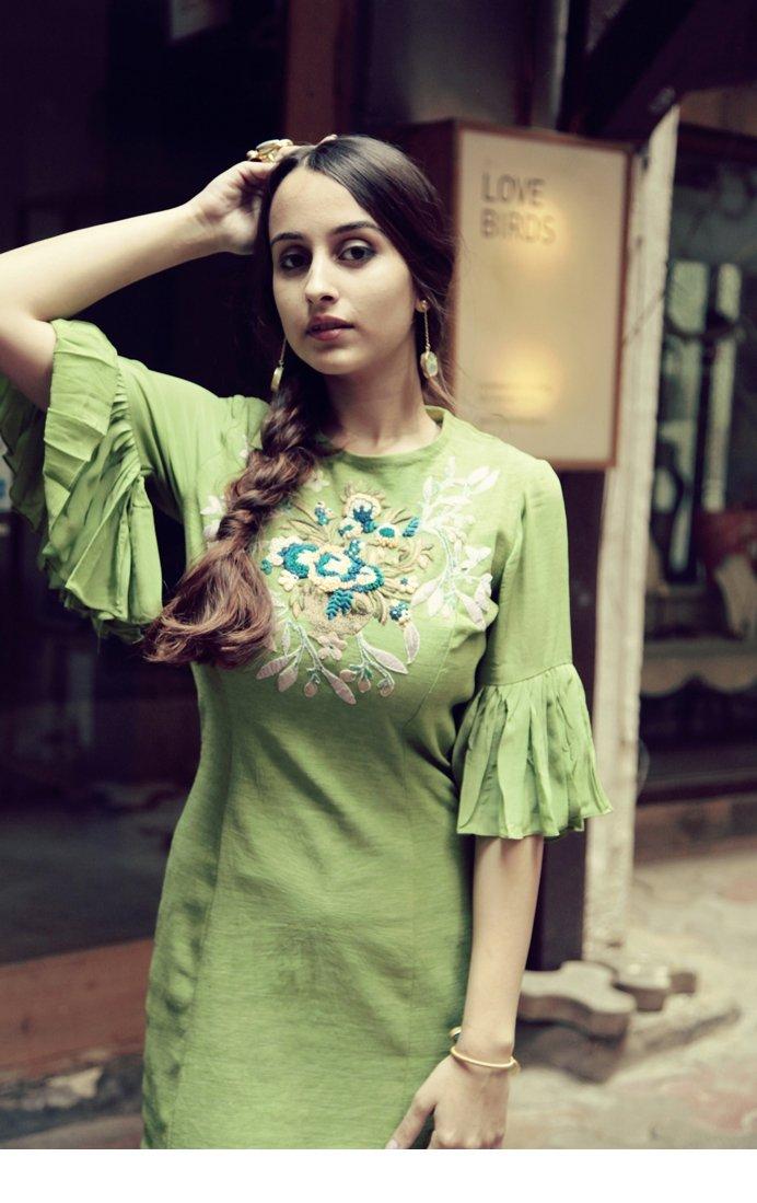 green linen stretch straight dress