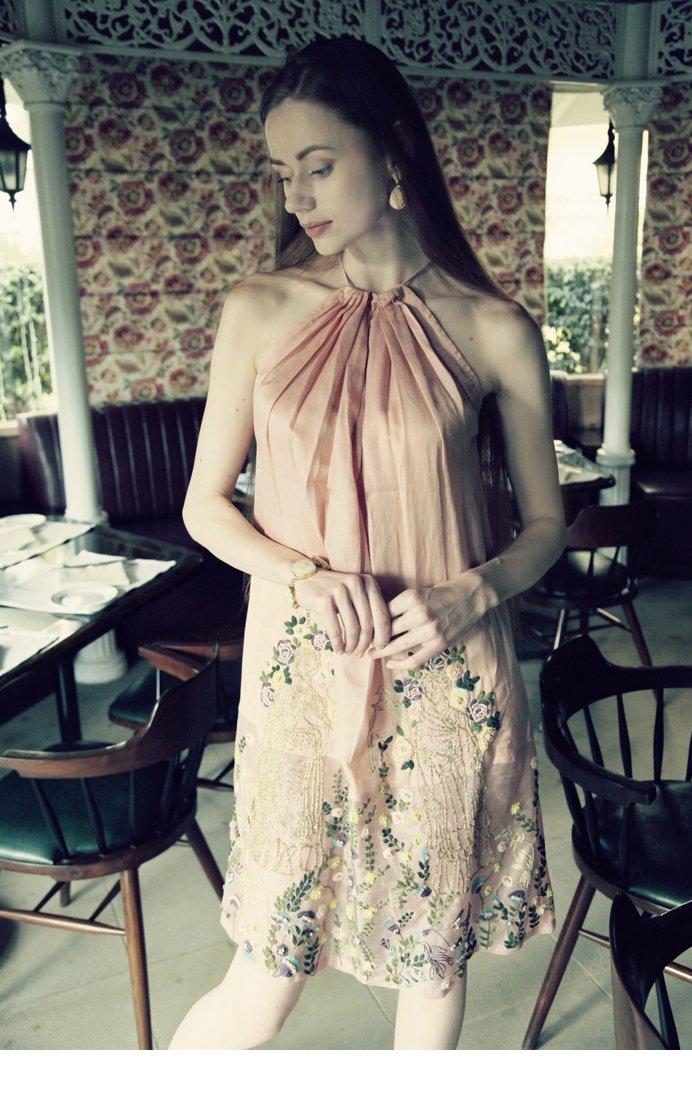 Peach Halter neck Embroidered Dress.