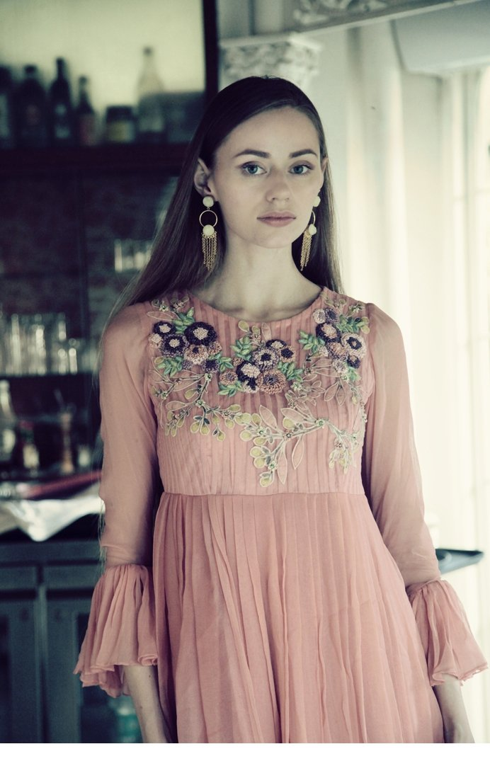 peach net and georgette dress