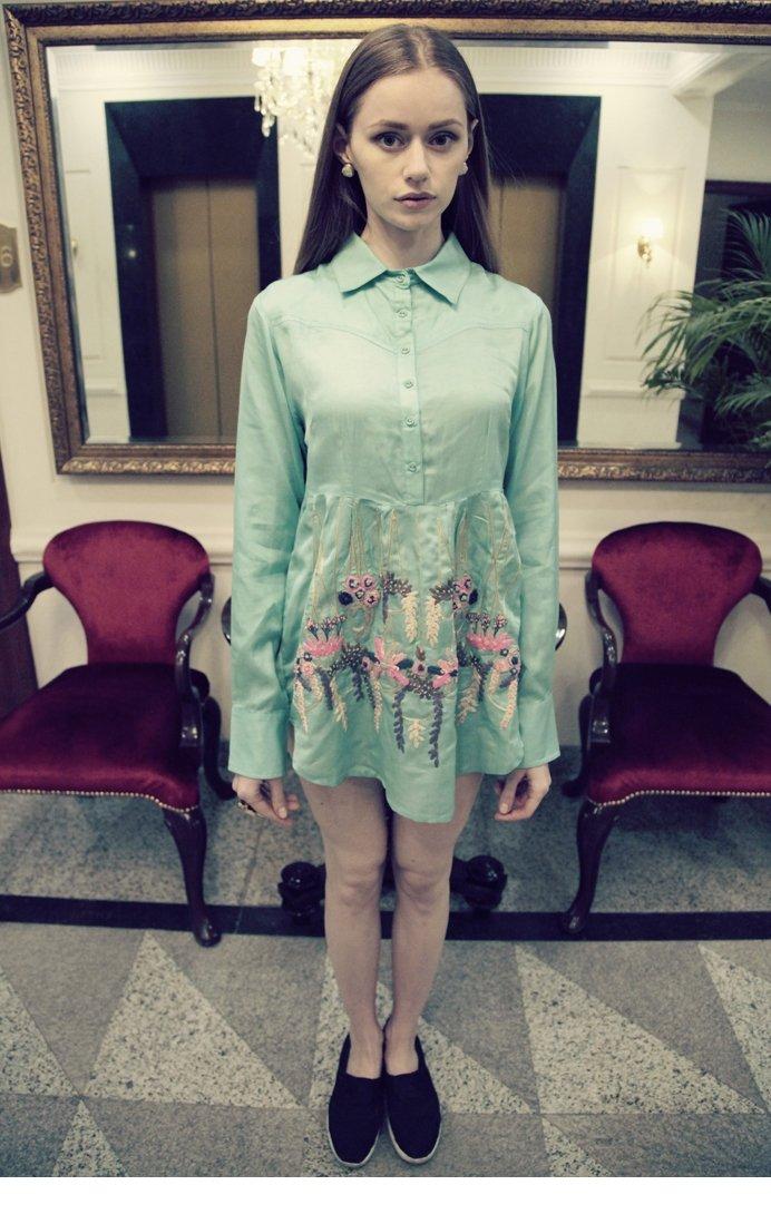 aqua blue modal satin flared dress