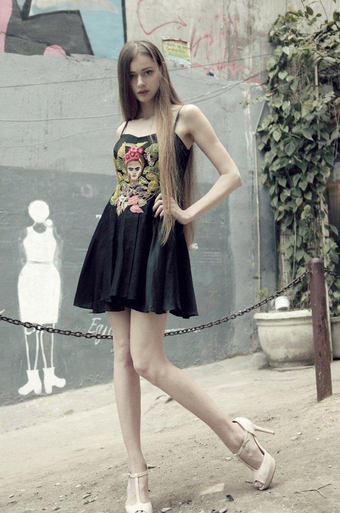 Black Embroidered Flared dress