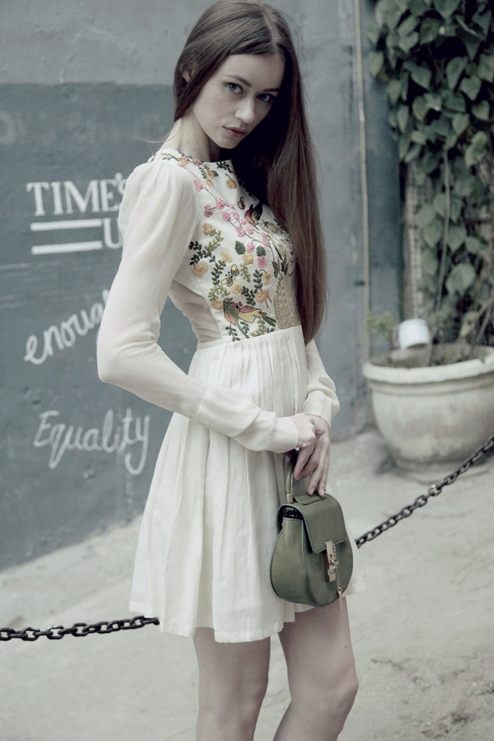 Off white flared dress