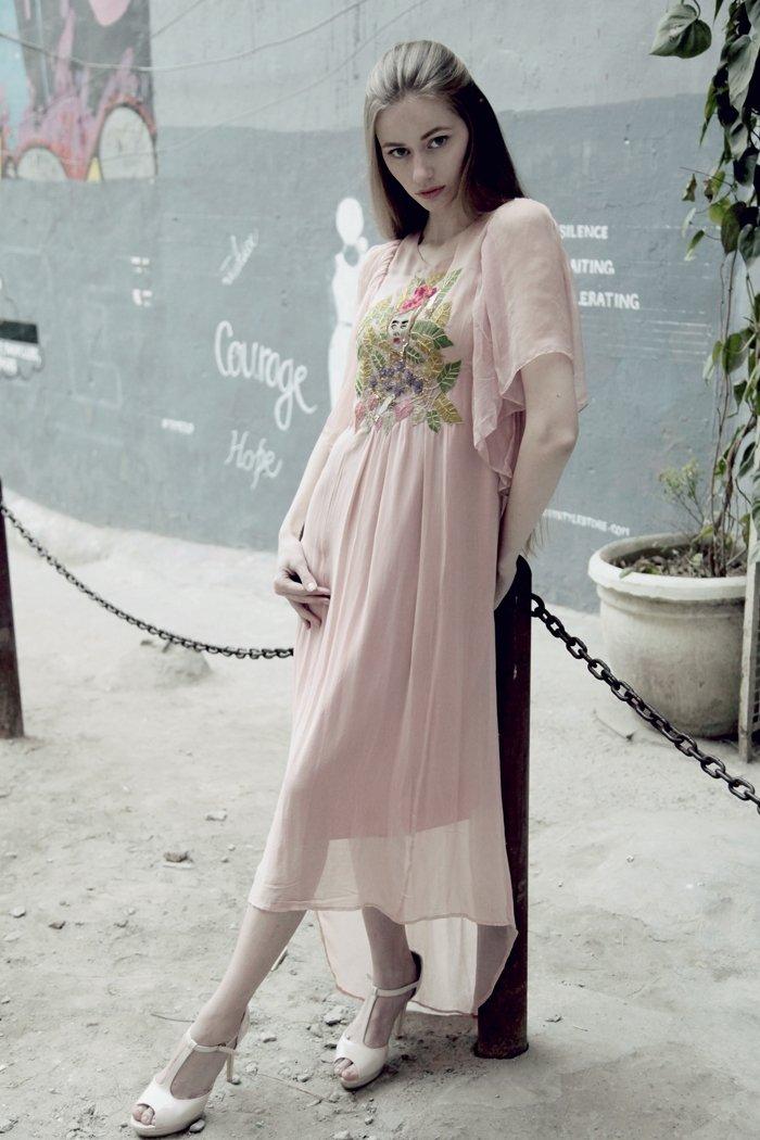 Peach georgette high low dress