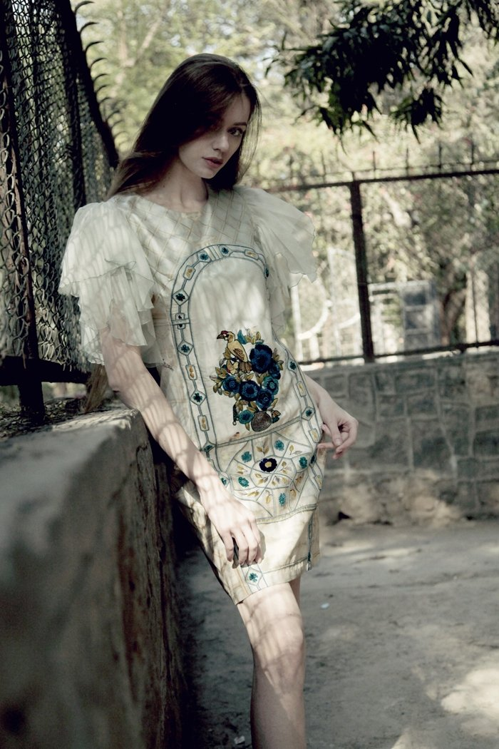 Pistachio taffeta straight dress
