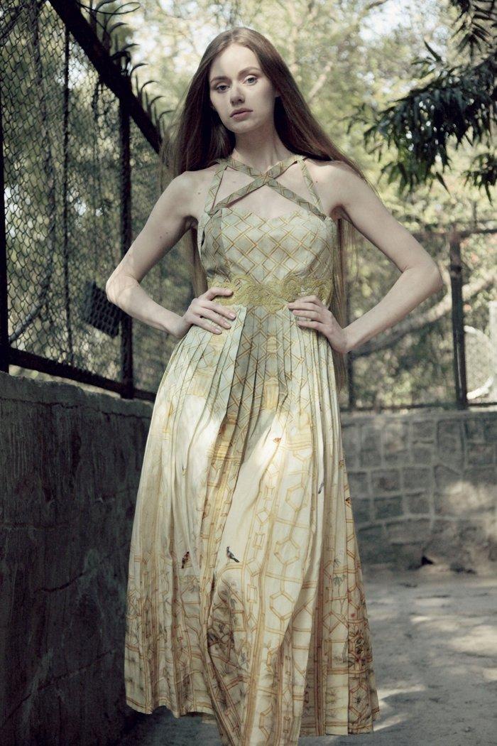 Pear Coloured Printed Dress