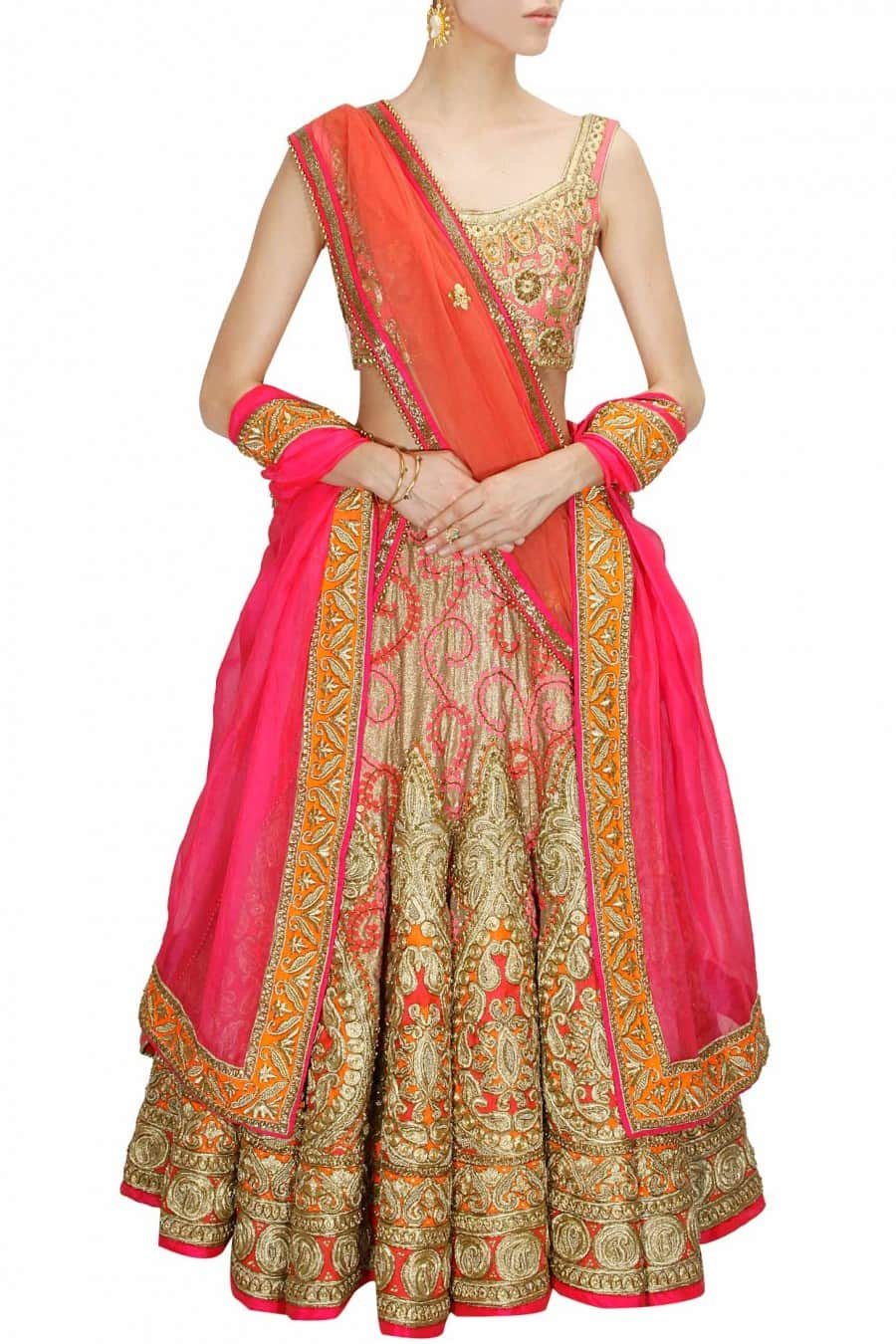 peach and Gold Bridal Lehenga Set