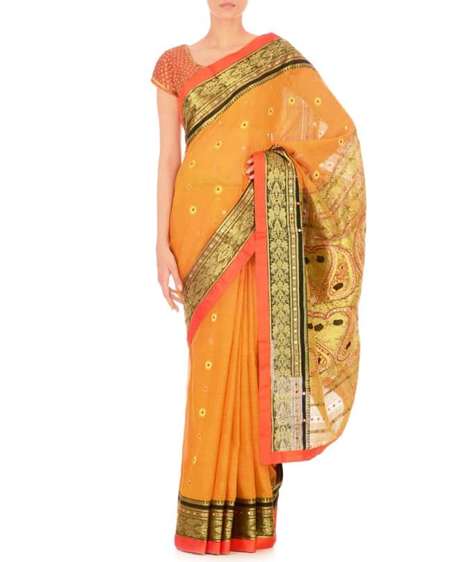 Yellow Mirror work Sari with Saffron Blouse