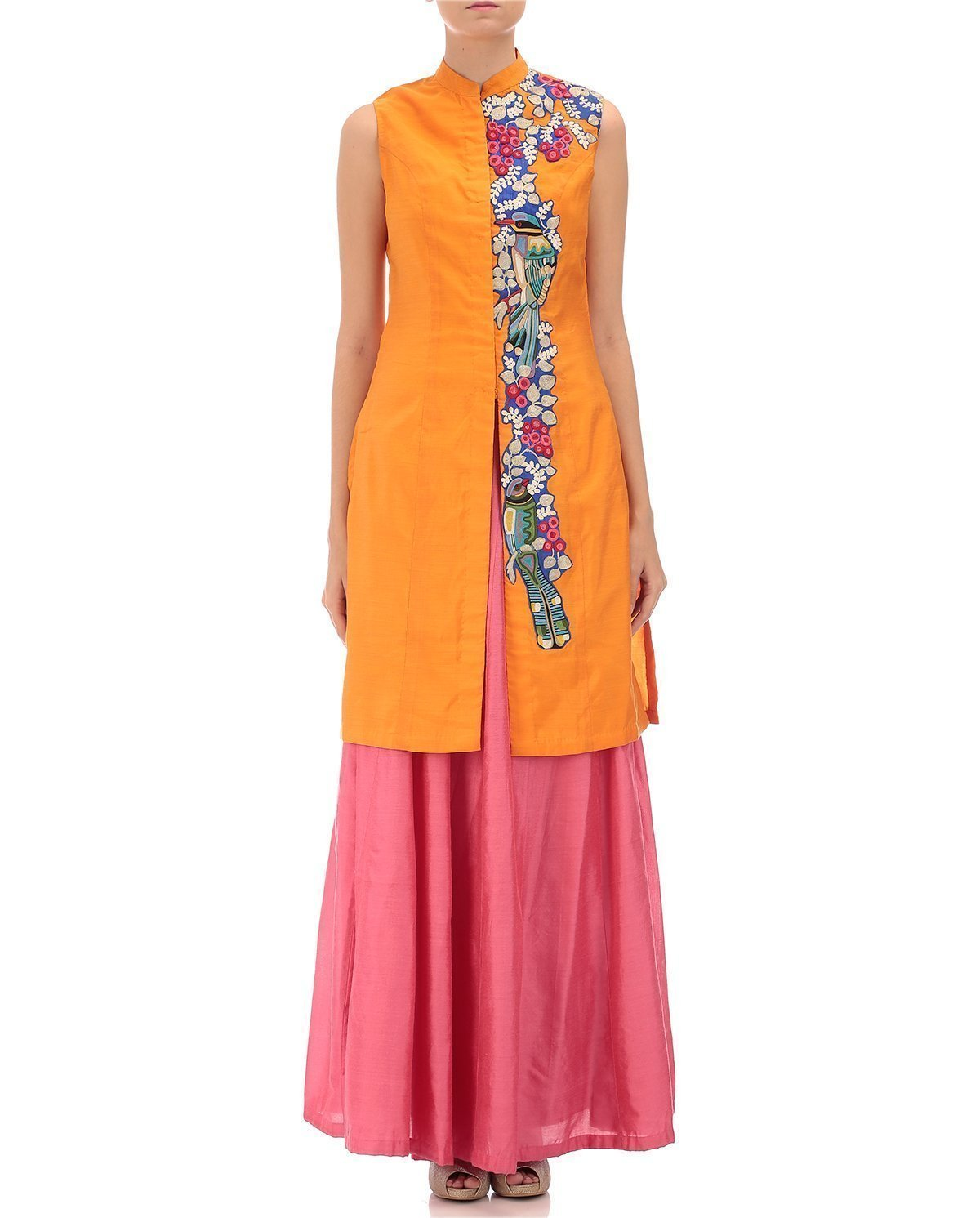 Embroidery Chanderi Jacket with Coral pink Chanderi Skirt