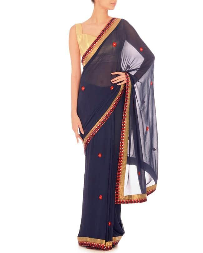 Navy Blue Light Sari Gold Blouse