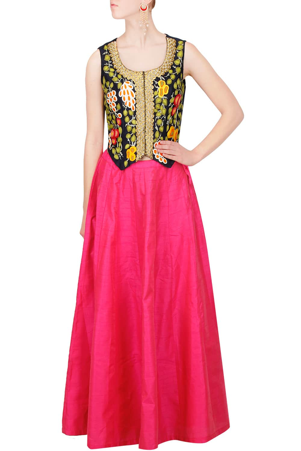 navy fruit embroidered waistcoat with pink skirt