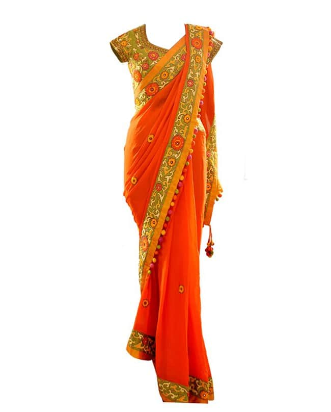 Orange Multicolor Embroidered Sari & Blouse