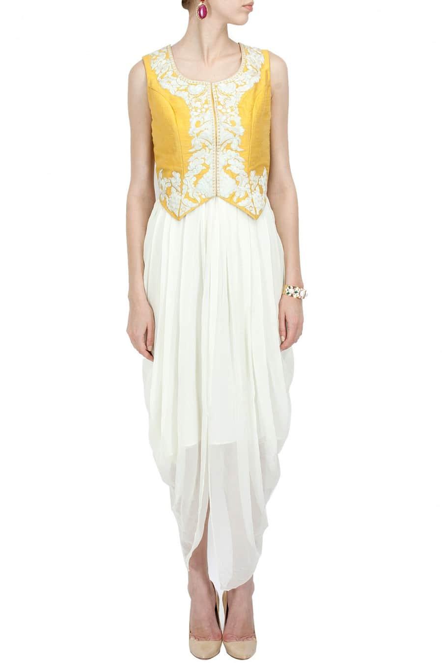 yellow waistcoat with draped dress