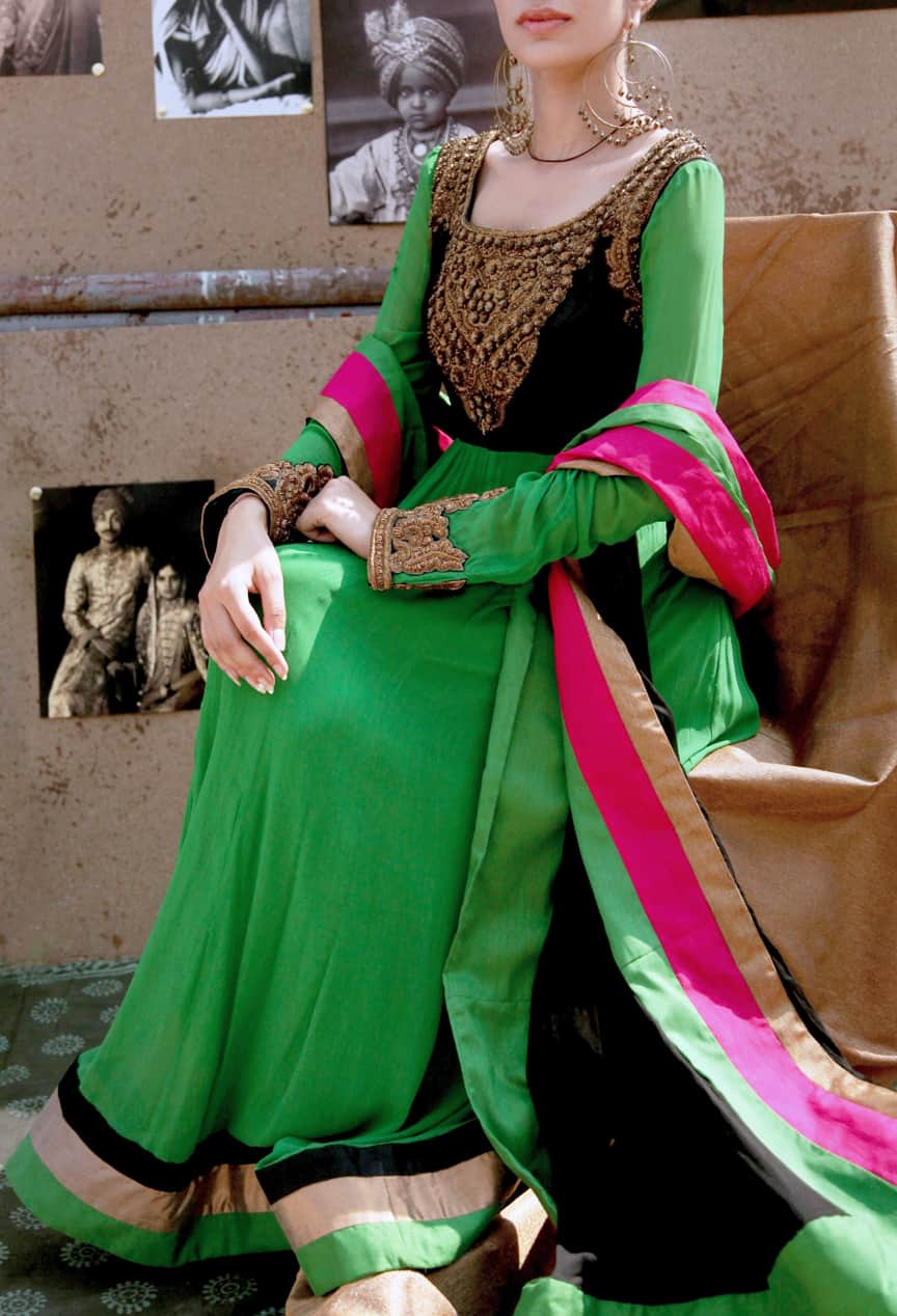 Parrot Green Embroidered Anarkali