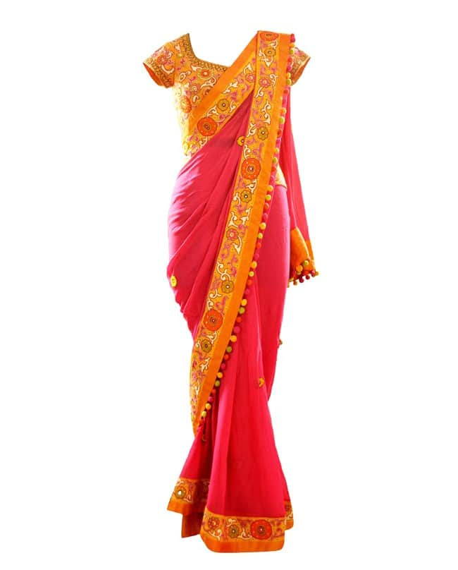 Pink Multicolor Embroidered Sari