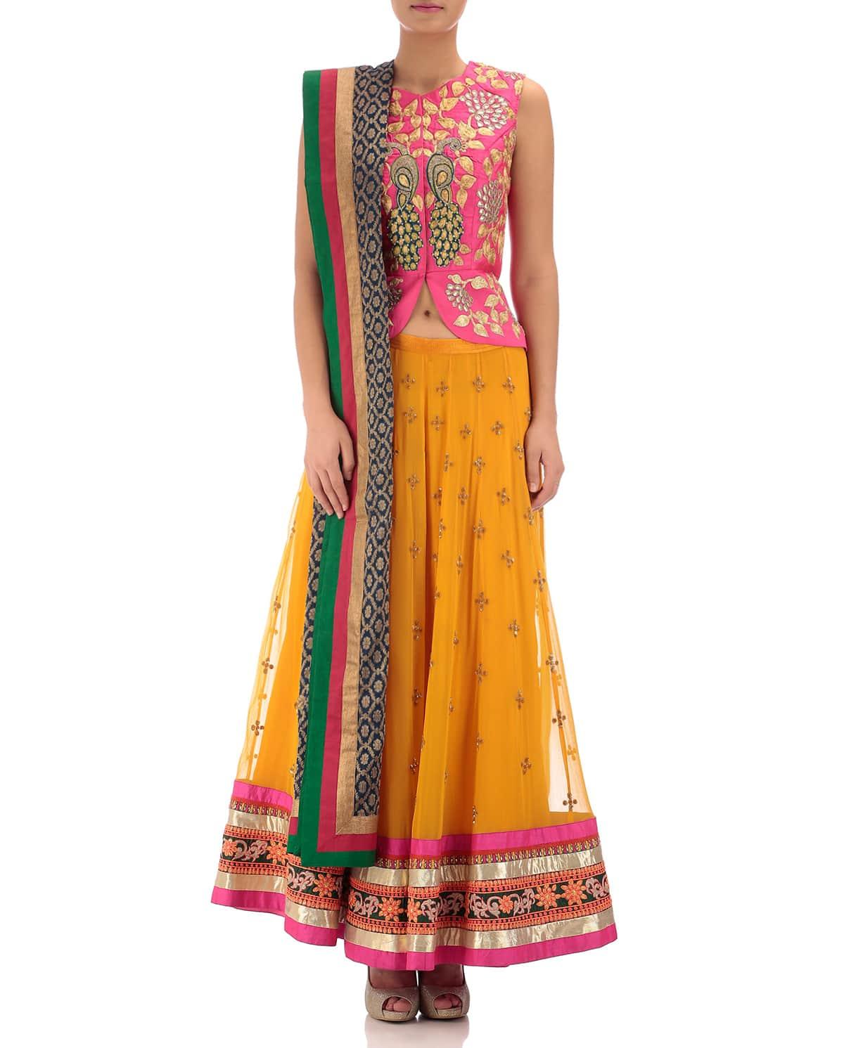 Colourful Embroidered Lehenga Set