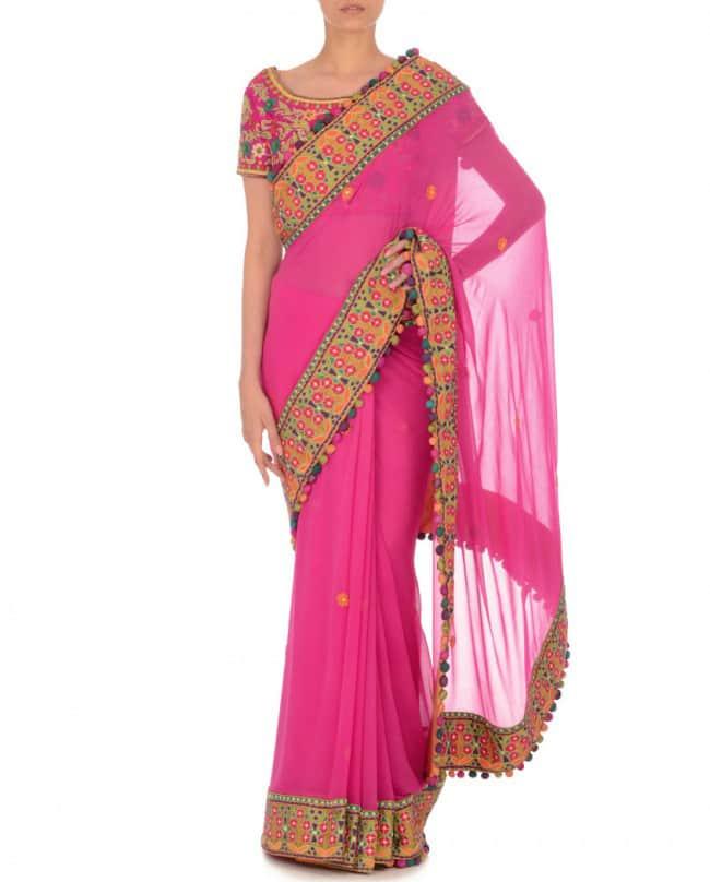 Magenta Multicolor Embroidered Sari & Blouse