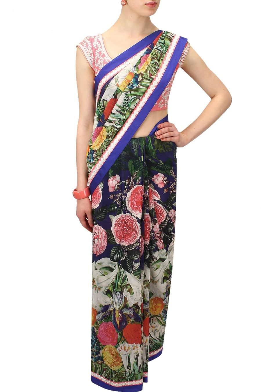 Multicolor Floral Rose Sari