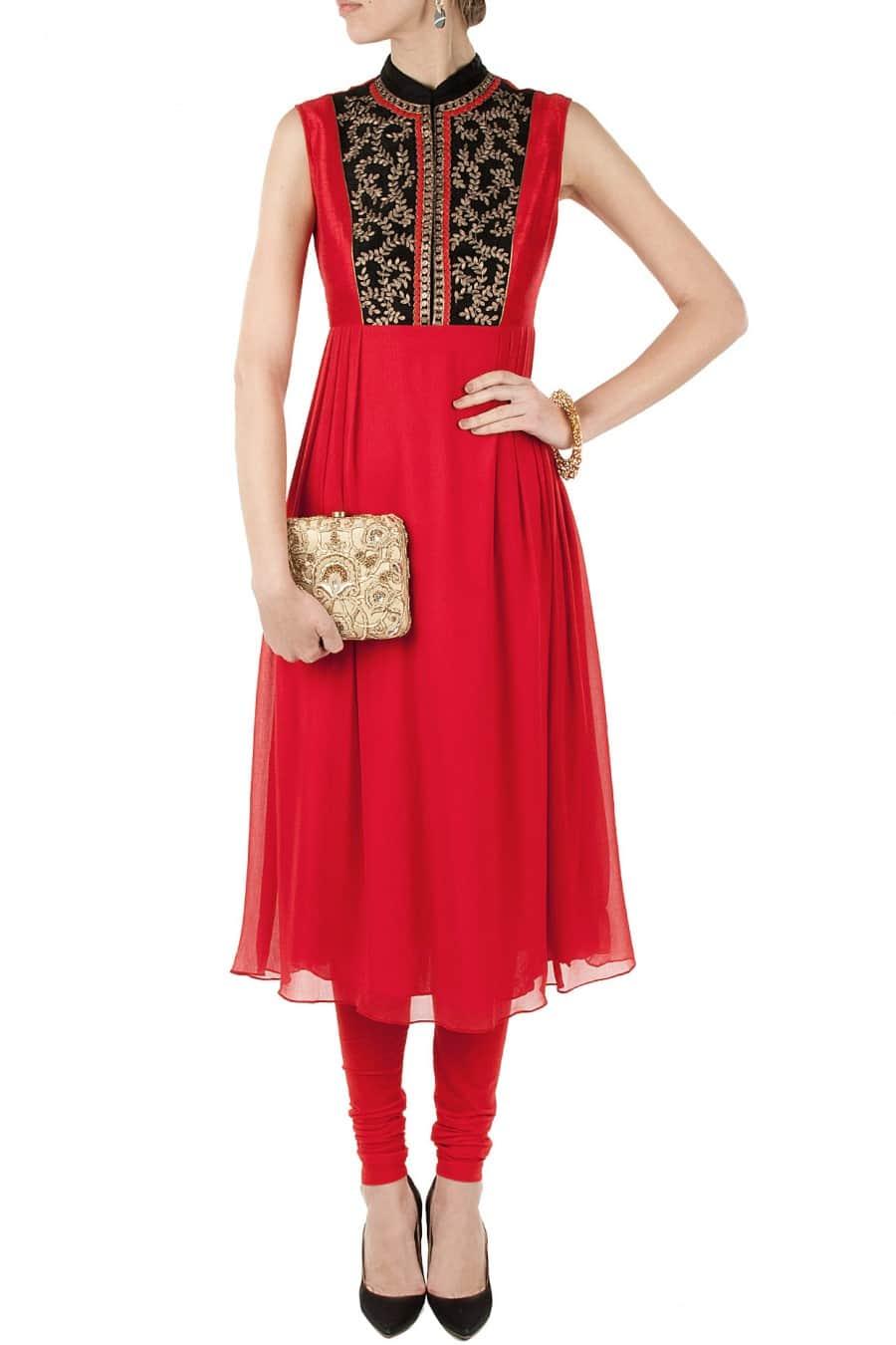 pleated kurta with Red churidaar pants.