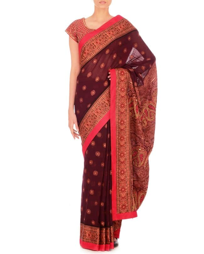 Berry Red Handwoven Sari