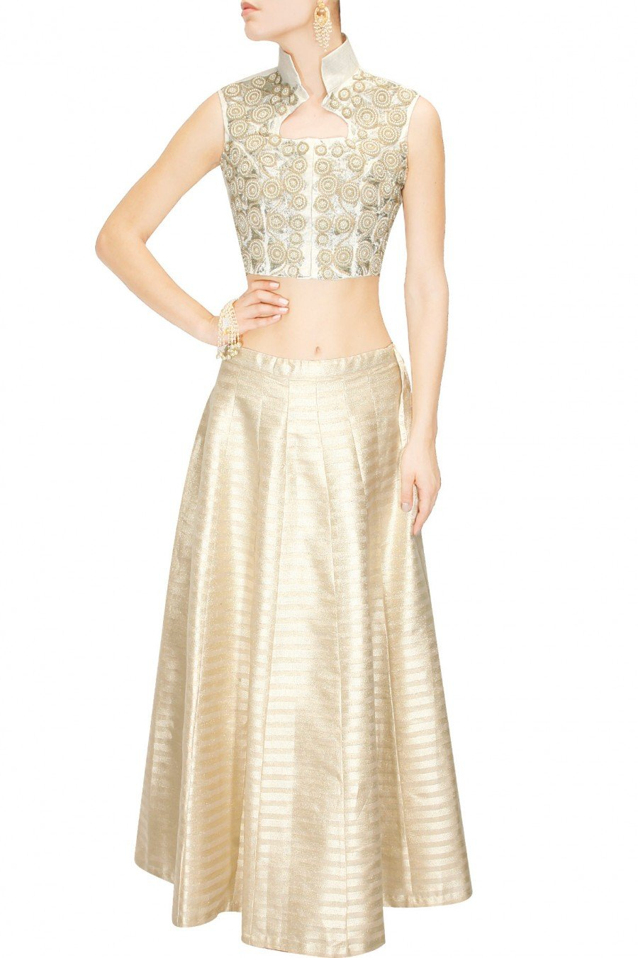 Ivory Crop top with light gold skirt lehanga.