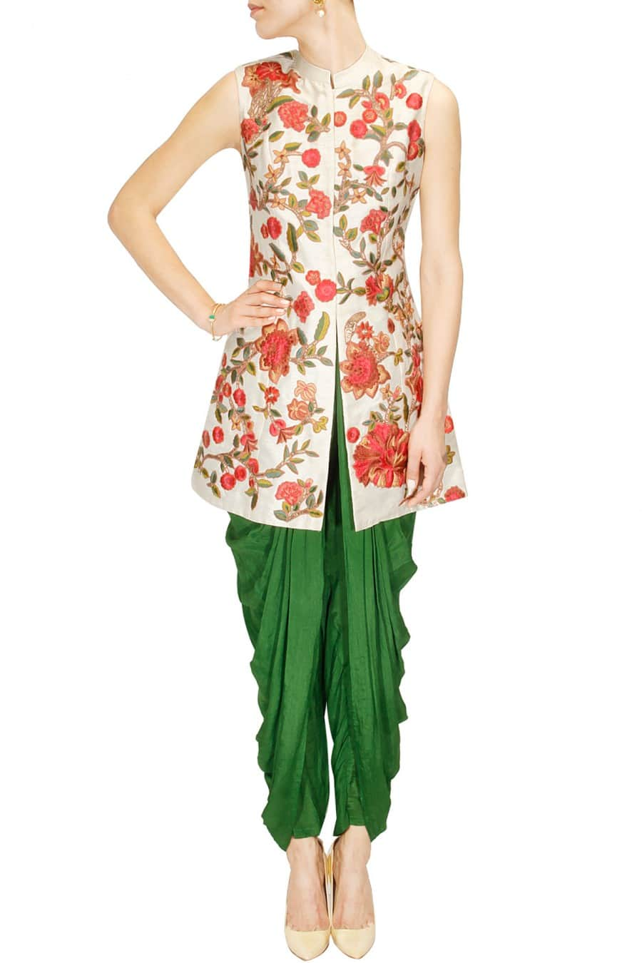 Ivory Long Jacket with Dhoti Pants.