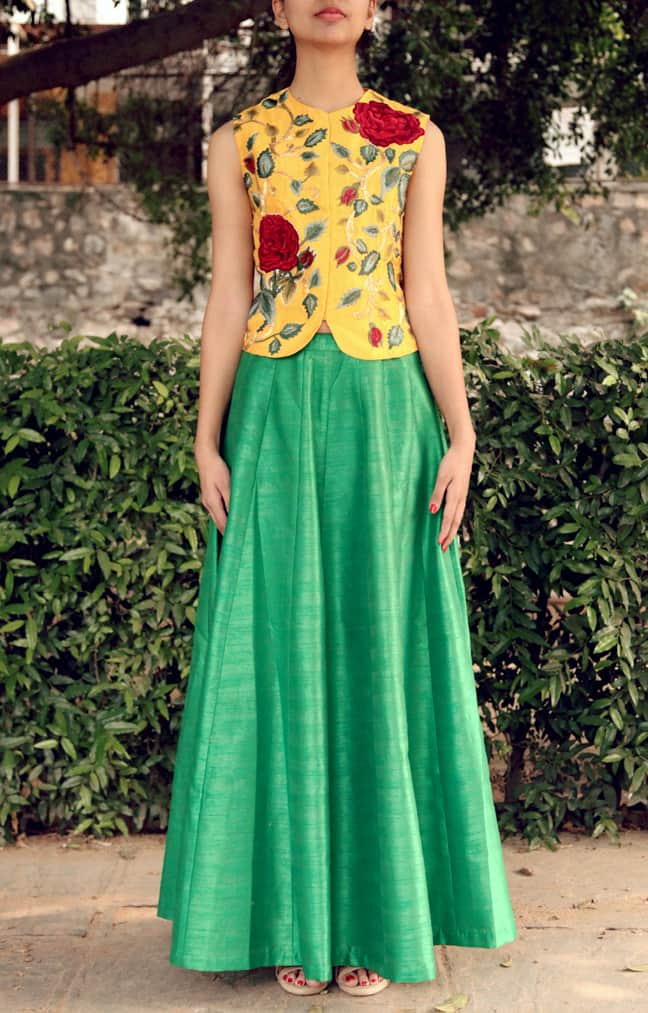 Yellow Embroidered Waistcoat and Emerald Green Plain Skirt