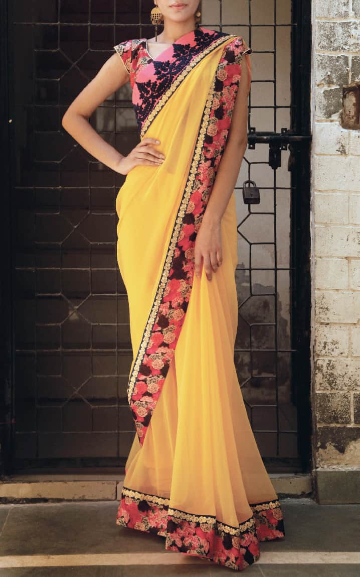 Yellow Floral and embroidered sari