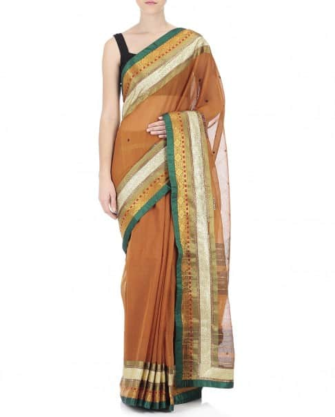 Fire Yellow Handwoven Sari